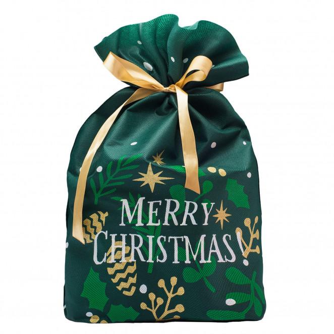 Portapanettone TNT Stampa Merry Christmas Verde Bosco