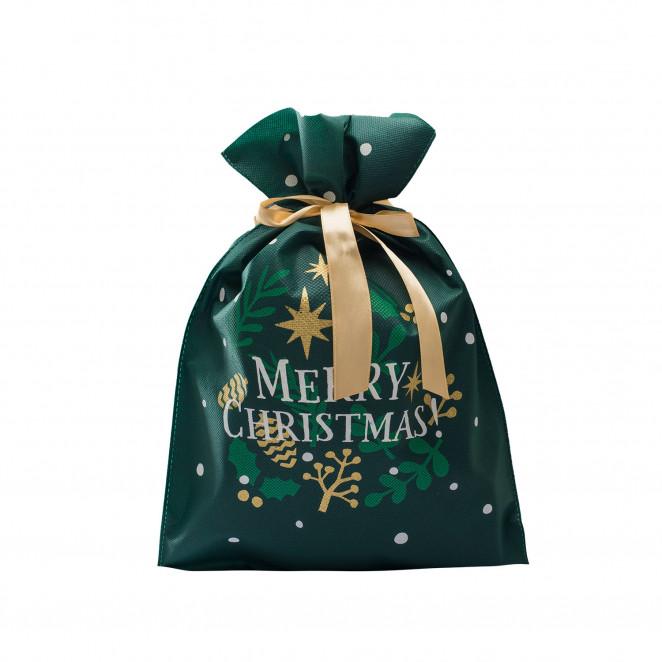 Sacchetti TNT con Stampa Merry Chirstmas Verde Bosco