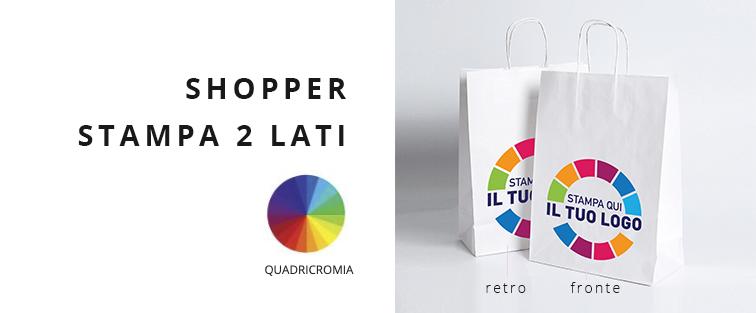 Shopper Carta Kraft Bianco Personalizzata a Colori 2 lati