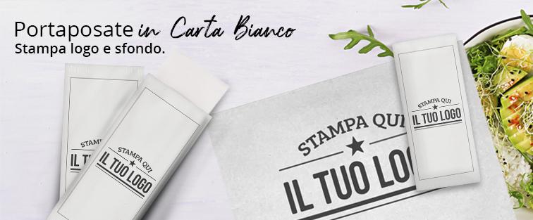 Busta Portaposate in Carta Personalizzata Bianco