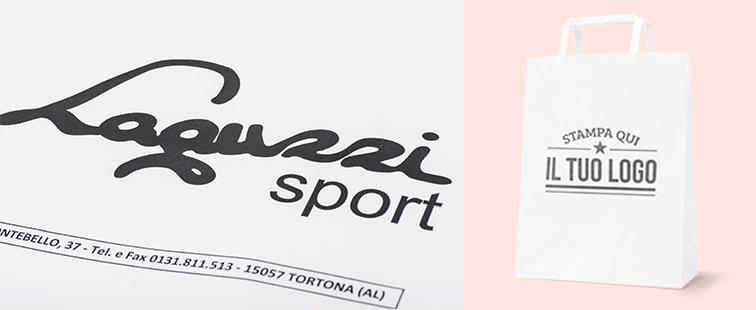 Shopper Bianca Manico Piattina Personalizzata